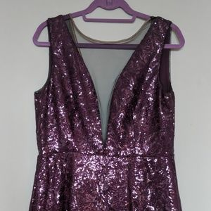 Purple Sequin Mini Dress